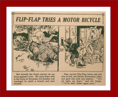 Flip Flap the Great Oojah tries a motorcycle The Oojah Annual 1923